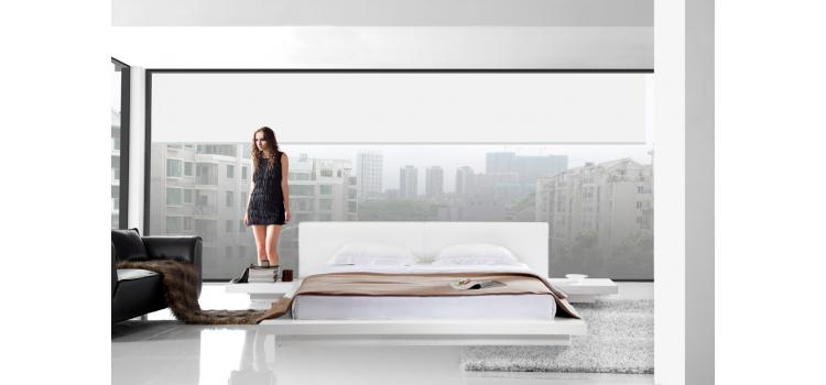 Opal White Gloss Japanese Style Platform Bed with Nightstands