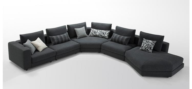 Modern Black Fabric Sectional Sofa set