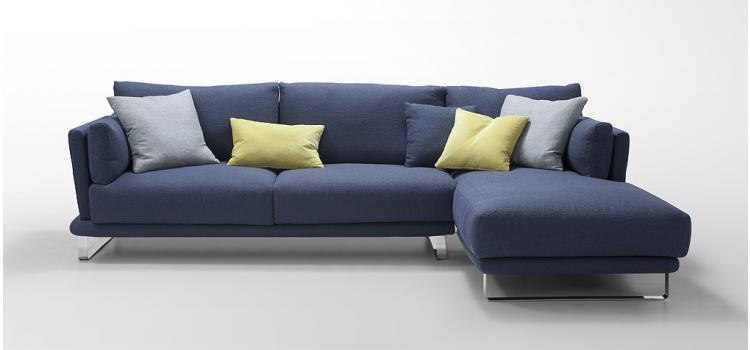 Modern Blue Fabric Sectional Sofa