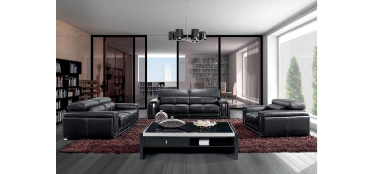 Modern Black Leather Sofa Set with Headrests - 2992