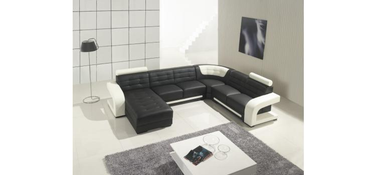 T139 - Modern Black and White Leather Sectional Sofa