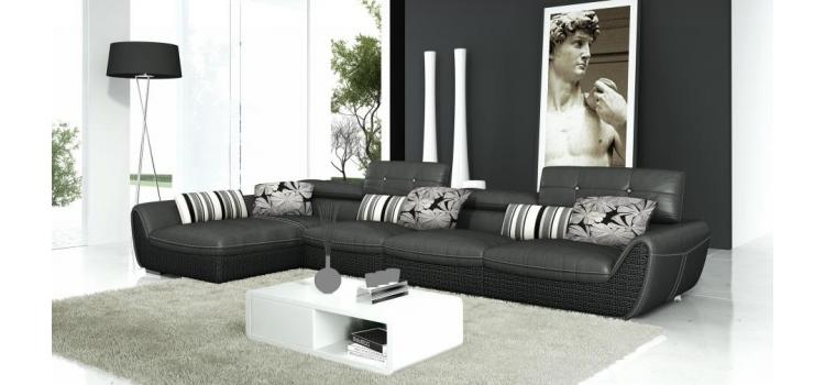 T186 - Modern Black Leather Sectional Sofa