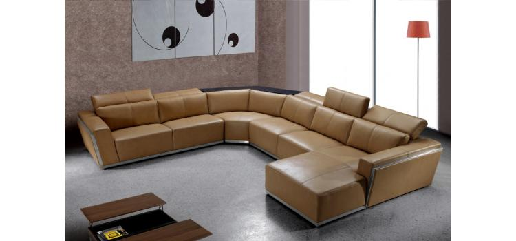 Tempo - Contemporary Brown Leather Sectional Sofa