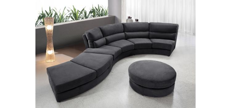 0599 - Contemporary Curvy Fabric Sofa