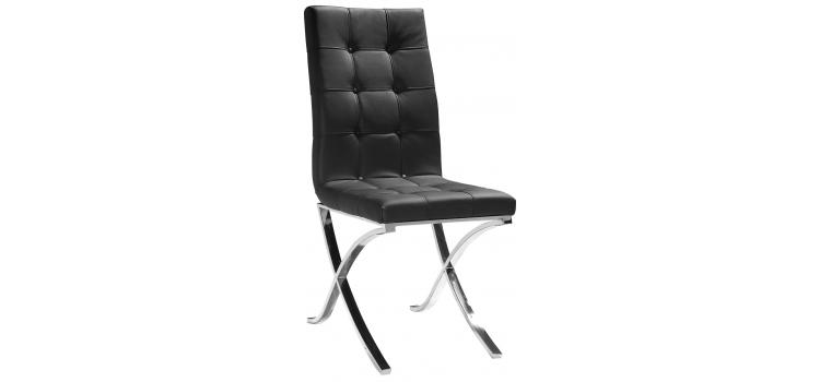Modern Black Leather Dining Chair