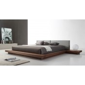 Modrest Opal Modern Walnut & Grey Platform Bed