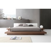 Modrest Opal Modern Walnut & White Platform Bed