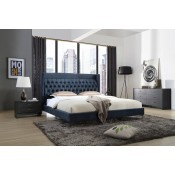 Modrest Wales Modern Blue Fabric Bed