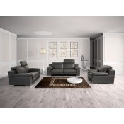 Estro Salotti Evergreen Modern Black Italian Leather Sofa Set