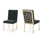 Modrest Reba Modern Black Velvet & Gold Dining Chair (Set of 2)