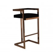 Modrest Halifax Modern Black Leatherette & Rosegold Bar Stool