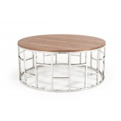 Modrest Silvia Modern Walnut & Stainless Steel Coffee Table