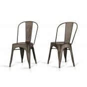 Elan - Modern Rust Metal Dining Chair (Set of 2)