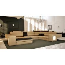 Divani Casa Ramo - Contemporary Bonded Leather Sectional Sofa With Light