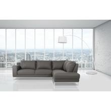 Divani Casa Primrose Modern Grey Eco-Leather Sectional Sofa w/ Right Facing Chaise