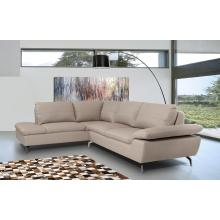 Divani Casa Peony - Modern Grey Leather Sectional Sofa
