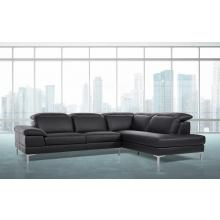 Divani Casa Carnation - Modern Black Leather Sectional Sofa