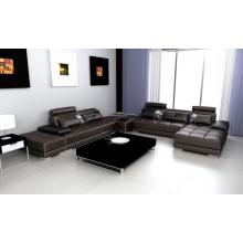 Divani Casa Phantom - Modern Espresso Leather Sectional Sofa w Two Ottoman's and End Table