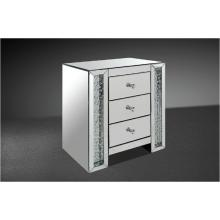 Modrest Glimmer - Transitonal Mirrored Nightstand with Artificial Crystals