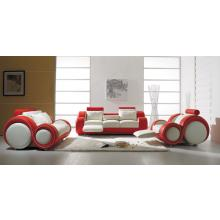 Divani Casa T27 - Contemporary White and Red Bonded Leather Sofa Set
