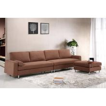 Divani Casa 3805 - Modern Brown Fabric Sectional Sofa with Ottoman