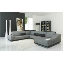 Divani Casa 5068 Modern Grey and Black Leather Sectional Sofa