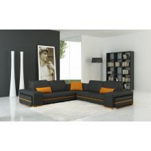 Divani Casa 5070C Modern Grey and Orange Leather Sectional Sofa