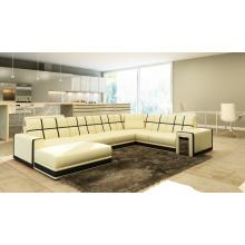 Divani Casa 5078 Beige and Black Bonded Leather Sectional Sofa
