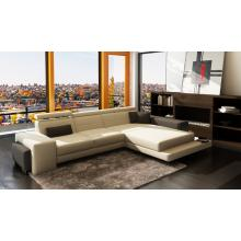 Divani Casa 6113 Modern White and Grey Bonded Leather Sectional Sofa