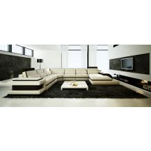 Divani Casa 6122 Modern Cream and Black Bonded Leather Sectional Sofa
