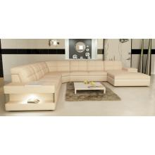 Divani Casa 6130 Modern Cream and White Bonded Leather Sectional Sofa