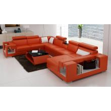 Divani Casa 6138 Modern Orange and White Bonded Leather Sectional Sofa