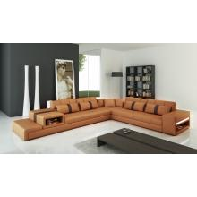 Divani Casa 6141 Modern Camel and Brown Bonded Leather Sectional Sofa