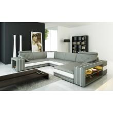 Divani Casa 6142 Modern Grey and White Bonded Leather Sectional Sofa