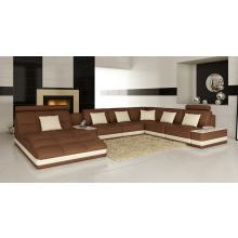 Divani Casa 6143 Modern Brown and White Bonded Leather Sectional Sofa