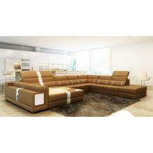 Divani Casa 6144 Modern Camel and White Bonded Leather Sectional Sofa