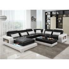 Divani Casa 6145 Modern Black and White Bonded Leather Sectional Sofa
