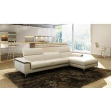 Divani Casa 990A Modern White and Grey Italian Leather Sectional Sofa