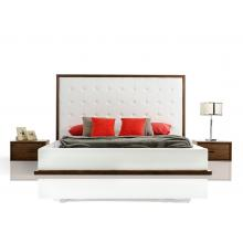 Modrest Beth Modern Walnut with White Leatherette Bed