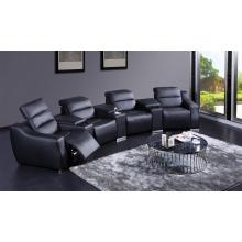 Divani Casa E9020 Modern Black Eco-Leather Recliner Sectional Sofa with Audio System