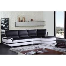 Divani Casa K8456 Modern Black and White Eco-Leather Sectional Sofa