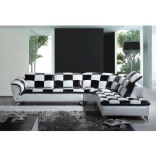 Divani Casa K8478 Modern Black and White Checkered Leather Sectional Sofa