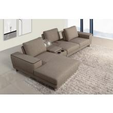 Divani Casa 1374 - Modern Fabric Sectional Sofa with Beverage Console and Adjustable Backrests