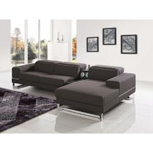 Divani Casa Cinema Modern Brown Fabric Sectional Sofa w/ iPhone Dock