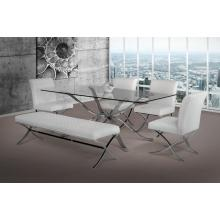 Modrest Adderley Modern Stainless Steel w/ Glass Top Dining Table