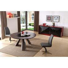 Modrest Barton - Contemporary Round Wenge Dining Table with Glass Lazy Susan