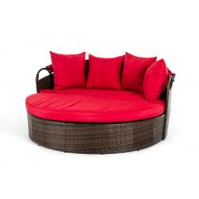Renava Cove - Round Patio Day Bed With Retractable Red Sun Cover
