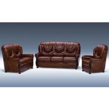 Dima Dallas Classic Italian Brown Italian Leather Sofa Set