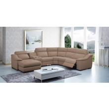 Divani Casa Saffron - Modern Leather Sectional Sofa with Beverage Console and Recliners