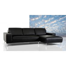 Elite Modern Black Leather Sectional Sofa
